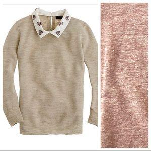 J.Crew Jeweled-Collar Linen Sweater Dusty Rose